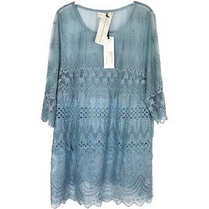 NWT Johnny Was Cyra Blue Eyelet Tunic Top Mini L
